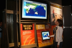 Worldwide Earthquake Activity interactive kiosk, installation view